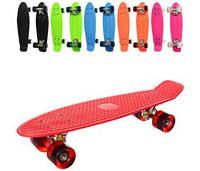 Скейт (12шт) пенни, 55,5-14,5см, алюм. подвеска, колесаПУ,6 цветов, 2вида,разобр,в кульке,