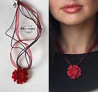 """""""Элегантный красный"""" Кулон ручной работы с розами., фото 1"""