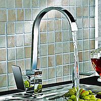 Кухонная раковина кран смеситель поворотным изливом хром латунь квадратная однорычажный моно