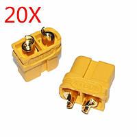 20X модернизация накопить xt60u мужчин и женщин, пуля разъемов заглушек липо аккумулятор 1 пары