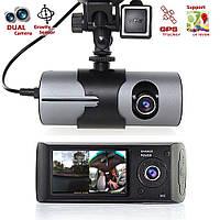 Автомобильный видеорегистратор Car DVR R300 с модулем GPS  двумя камерами и G-сенсором удара