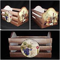 Декупажный ящик под хлеб из дерева и фанеры, ручная работа, 21х33х20 см., 420 гр.