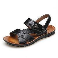 Открытый США размер 6,5-10 Мужчины кожа плоские сандалии Beach Массаж мягкие тапочки обувь