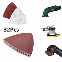 32pcs 80мм шлифовать бюллетени диск треугольник наждачка 60 / 120 / 180 / 240 песком.