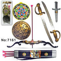 Пиратский набор 7161, 2 меча, щит, нож, лук, стрелы, в пакете 68 *20 см