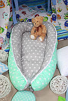 """Кокон-гнездышко, позиционер, babynest, кокон для новорожденных """"Мятные звёзды"""", фото 1"""