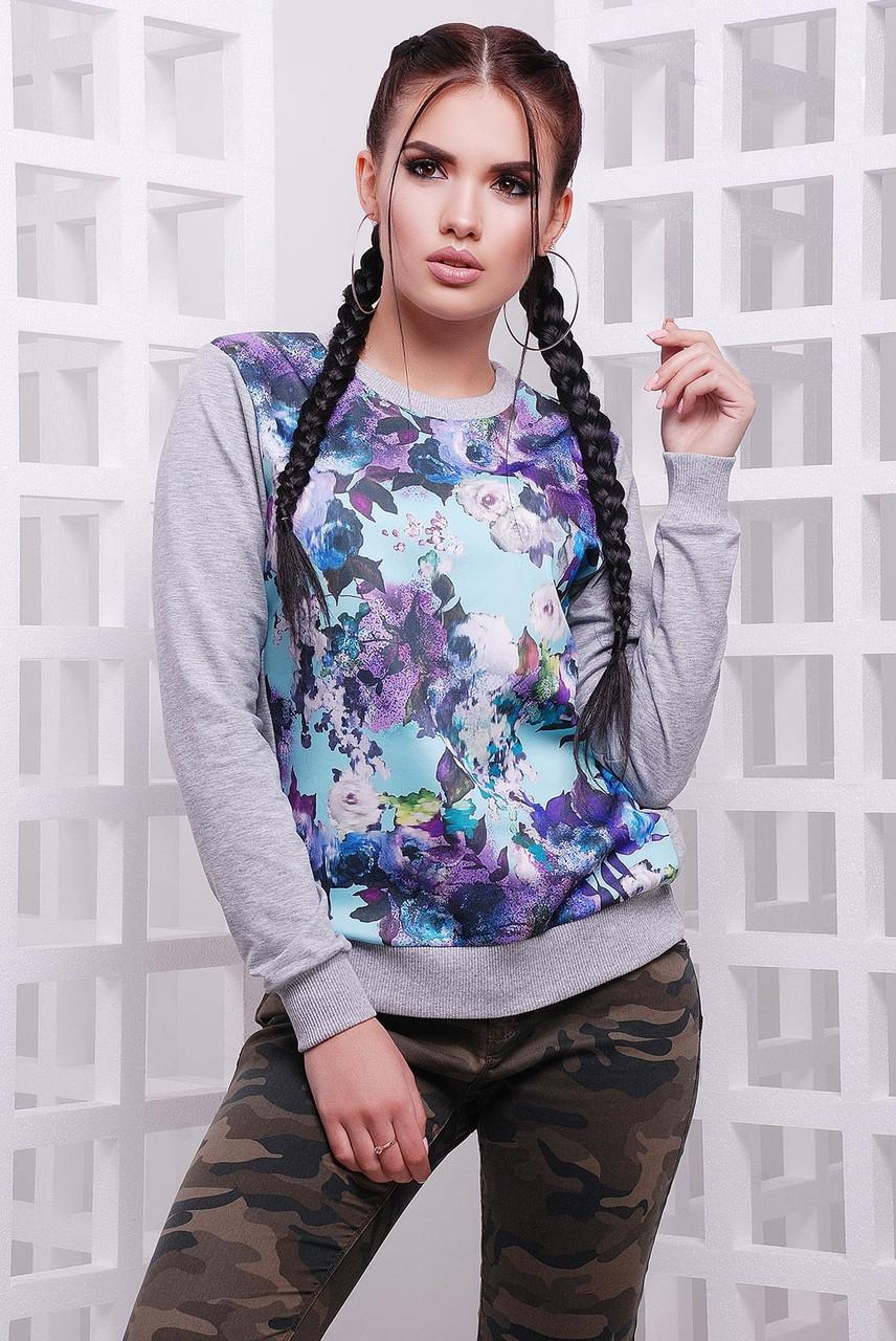 4eb38ba2a5b00 Яркий женский свитшот с цветочным принтом р.42,44,46,48,50: продажа ...