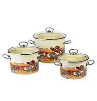 Набор кастрюль эмалированных (3 шт) Epos №1500 Кокетка, арт. 1500кокетка