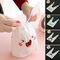 50шт Симпатичные Пасхальные кролики Печенье сумка Свадебное оформление Kawaii кролика уха Пластиковые Candy Bag