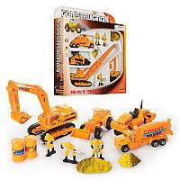 Детский набор машинок Строительная техника (строй техника) металлические, инерционные, работники,HU PT 2021