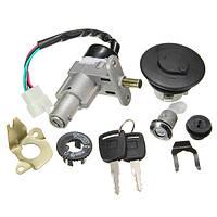 Переключатель замка зажигания мотоцикла Крышка топливного бака +2 Ключ для 49 50CC 60CC 72CC 80CC