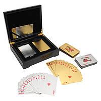 24k Золотая / Серебряная фольга Игральные карты 2 колода Покер Браун Деревянная коробка Подарки Игра Казино