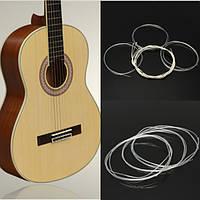 6pcs серебряные нити с нейлоновыми струнами калибровочные набор для классической акустической гитары