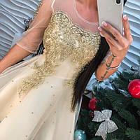 Красивое вечернее платье органза с вышивкой и стразами беж и белое