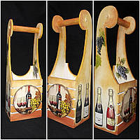Оригинальный ящик под шампанское, ручная работа, декупаж, дерево и фанера, 45х15х11 см., 430 гр.