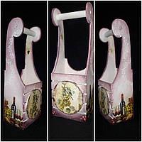 Декупажный ящик под шампанское, из дерева и фанеры, ручная работа, 45х15х11 см., 430 гр.