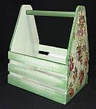 Деревянный ящик в технике декупаж, ручная работа, дерево и фанера, 30х25х19 см., 450 гр., фото 9
