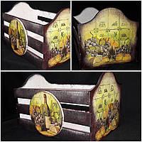 Оригинальный ящик под хлеб, ручная работа, декупаж, дерево и фанера, 21х33х20 см., 420 гр.