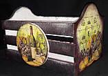 Оригинальный ящик под хлеб, ручная работа, декупаж, дерево и фанера, 21х33х20 см., 420 гр., фото 2