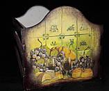 Оригинальный ящик под хлеб, ручная работа, декупаж, дерево и фанера, 21х33х20 см., 420 гр., фото 4