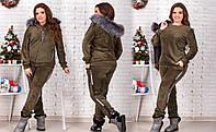 Модный теплый костюм тройка хаки батал 48 50 52 54 56