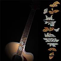 Бас-гитара инкрустация грифа стикер маркер поделки лада деколи бабочки над цветком