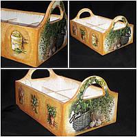 Ящик декоративный 6 секций, дерево и фанера, ручная работа, 15х30х20 см., 390 гр.