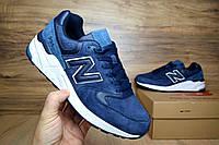 Мужские  кроссовки в стиле New Balance 999 синие  замша
