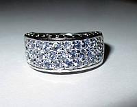 """Прямоугольное кольцо с натуральными танзанитами  и  черной шпинел """"Леди Ди"""" размер18.2 от студии LadyStyle.Biz, фото 1"""