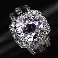 """Шикарное кольцо с кунцитом и розовыми сапфирами """"Квадро"""", размер 17,2 от студии LadyStyle.Biz"""
