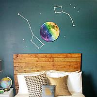 30см красочные большой стикер стены луны съемная светятся в темноте светящиеся наклейки домашнего декора