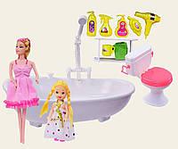 Ванна для куклы функциональная JJ6604  течет вода,  с 2 куклами,  платьем,  унитазом,  аксессуары для купания., в коробке