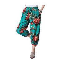 Женские штаны для йоги Оригинальные негабаритные свободные эластичные талии для печати Хлопчатобумажные льняные ткани Непальский стиль