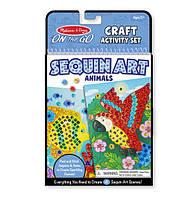 "Мерцающая мозаика ""Животные"" / Crafts - Sequin Art - Animals (4 картинки, 500 шт. блесток) ТМ Melissa & Doug MD9438"