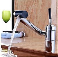 Твердая латунь роскошная ванная комната с возможностью поворота смеситель современный смеситель крана одной ручкой
