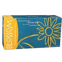 Нитриловые текстурированные перчатки Blossom голубые 50 пар