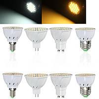 E27 E14 GU10 MR16 4W 60 SMD 2835 LED Чистый белый теплый белый свет лампы Light AC 110V / 220V