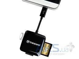 Кардридер Transcend OTG microUSB - USB, SD, microSD (TS-RDP9K) Black