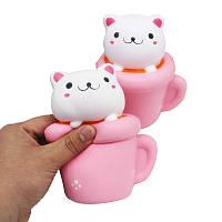 Squishy Jumbo Чайная Cat Kitten 14см Slow Восходящая Мягкие животных Pet Коллекция подарков Decor игрушки