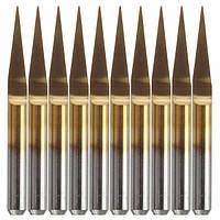 10pcs 0.1mm 10 градусов плоское дно печатной платы гравировка биты карбида титана с покрытием Фрезерный станок инструмент