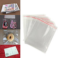 100шт 12 × 16см прозрачные мешки дисплей целлофан самоклеющаяся пломба пластиковые карты