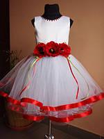 Платье для девочки с маками. Размеры от 3 до 10 лет