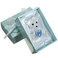 Хрустальный медведь синий сердце крестин ребенка душ пользу домашняя обстановка партии украшения подарок