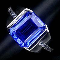 """Потрясающий перстень с лондон блю топазом и сапфирами """"Дипломат"""", размер 16,5 от студии LadyStyle.Biz, фото 1"""