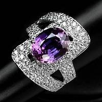 """Шикарное кольцо """"Мечта"""" с  пурпурным и белыми сапфирами, размер 18,6 студия LadyStyle.Biz, фото 1"""