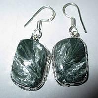 """Яркие серебряные серьги  с натуральным серафинитом """"Перо Ангела"""" ,  от студии LadyStyle.Biz, фото 1"""