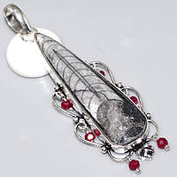"""Элегантный серебряный кулон с ортоцерасом и рубином  """"Исторический"""" ,  от студии LadyStyle.Biz, фото 1"""