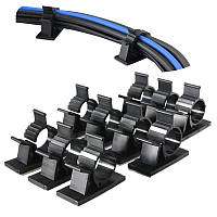 10шт черный клейкий шнур жильный кабель организаторы клипсы галстуков настенные зажимы