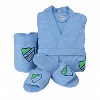 Набор халат с полотенцем и тапочками Karaca Home Formula голубой