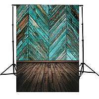 Ретро голубой краской деревянный пол доска Twill ткани Фотография Фон Фон 1TopShop